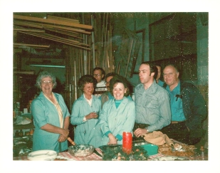 Christmas party at the shop. We love the aqua smocks and shirts the employees wore!