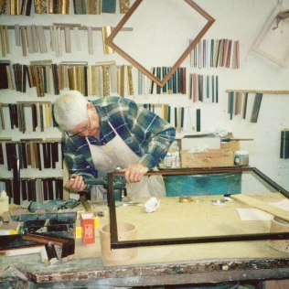 Not much changed over the years, as Quinton Bardsely still built frames into his retirement, seen here in 1998.