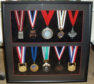 Medals in shadowbox
